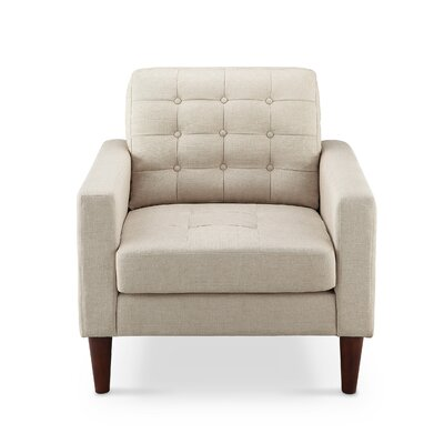 Amore Tufted Buttons Arm Chair Upholstery: Tan
