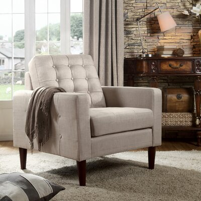 Amore Tufted Buttons Armchair Upholstery: Tan