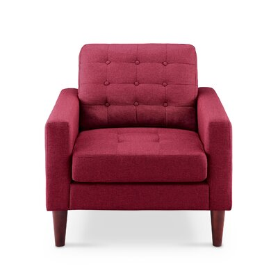 Amore Tufted Buttons Arm Chair Upholstery: Burgundy Wine