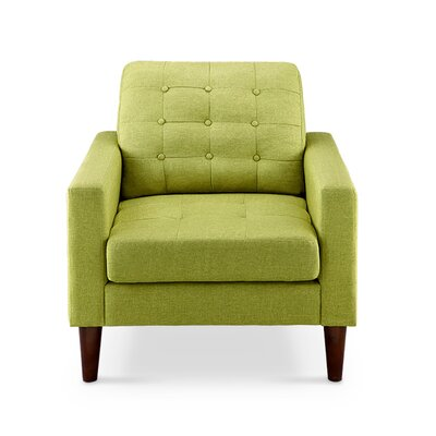 Amore Tufted Buttons Arm Chair Upholstery: Pear Green