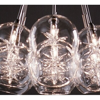 Kugler 9-Light Pendant Glass Color: Globe with Star Clear