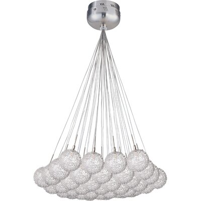 Kugler 37-Light Cluster Pendant Glass Color: Threaded