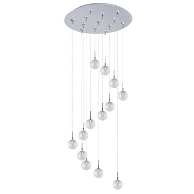 Kugler 13-Light Globe Shade Cascade Pendant