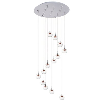 Kugler 13-Light Cascade Pendant Shade Color: Clear/Amber