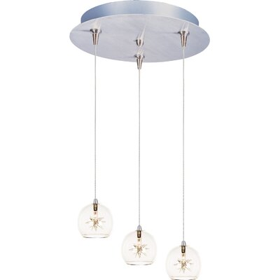 Kugler 3-Light RapidJack Bowl Shade Pendant and Canopy Shade Color: Clear