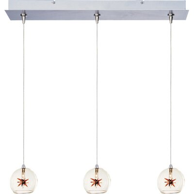 Philomena 3-Light RapidJack Pendant and Canopy Shade Color: Clear/Amber