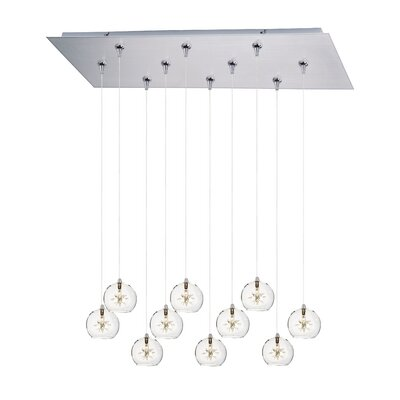 Kugler 10-Light Cascade pendant Shade Color: Clear