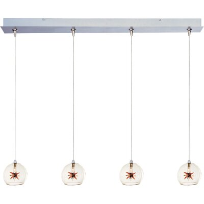 Kugler 4-Light RapidJack Pendant and Canopy Shade Color: Clear/Amber