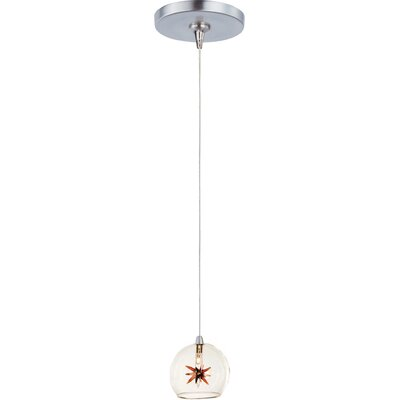 Philomena 1-Light RapidJack Pendant and Canopy Shade Color: Clear/Amber