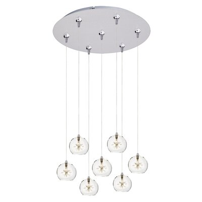 Kugler 7-Light Cascade Pendant Shade Color: Clear