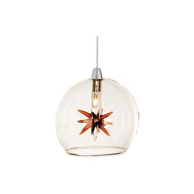 Kugler 1-Light Wire Globe Pendant Shade Color: Clear/Amber