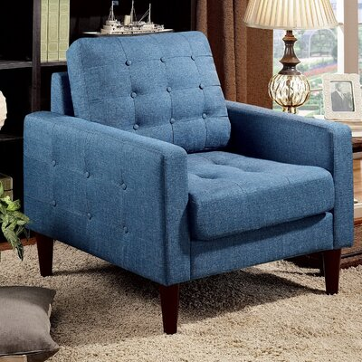 Amore Tufted Buttons Armchair Upholstery: Royal Blue
