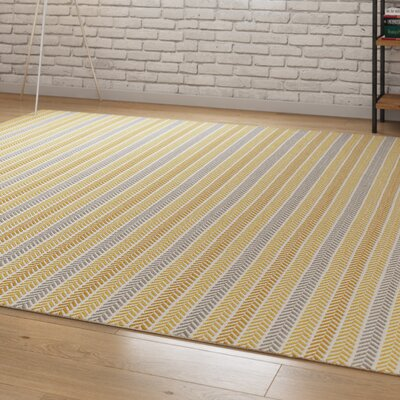Altair Hand Woven Cotton Yellow/Gray Area Rug Rug Size: 5 x 79