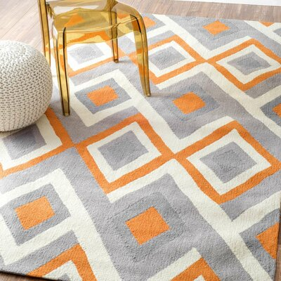 Isenberg Hand-Hooked Orange/Gray Area Rug Rug Size: 5 x 8