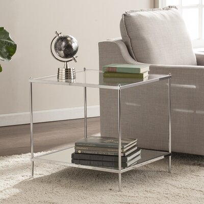 Busey Bottom Shelf Glam Mirrored End Table