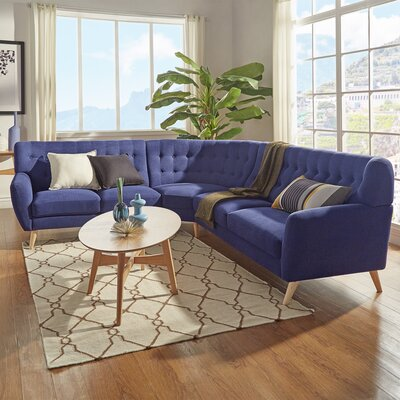 Blakeman Reversible Sectional Upholstery: Twilight Blue
