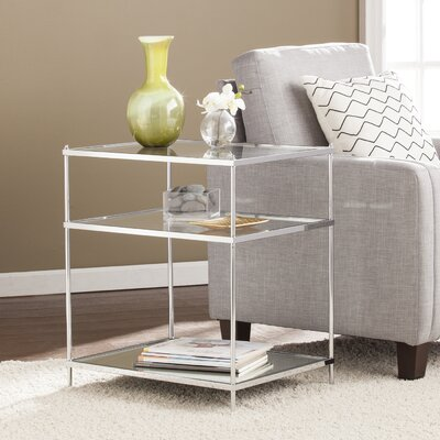 Busey 2 Shelves Glam Mirrored End Table