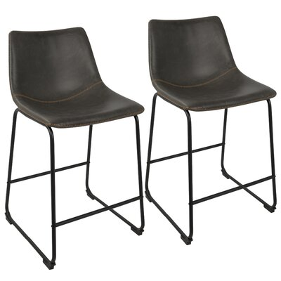Amendola 25.5 inch Bar Stool Upholstery: Gray