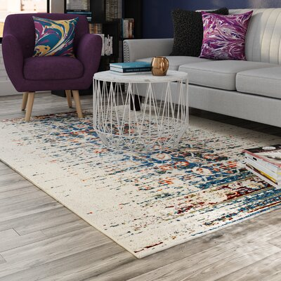 Hydra Ivory/Blue Area Rug Rug Size: Rectangle 67 x 92