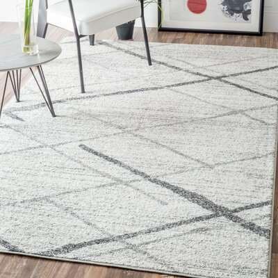 Azha Broken Light Gray Area Rug Rug Size: Rectangle 4 x 6