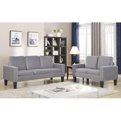 Bibbs Sofa and Loveseat Set Upholstery: Gray