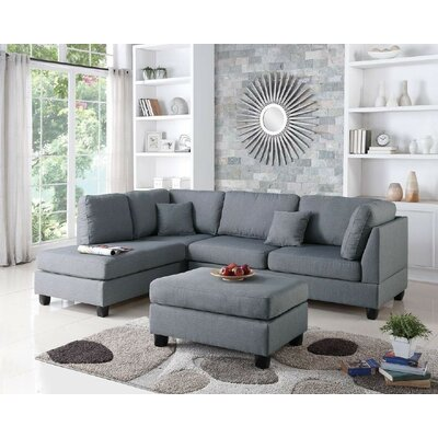 Bibler Reversible Sectional with Ottoman Upholstery: Gray