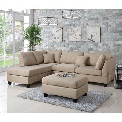 Bibler Reversible Sectional with Ottoman Upholstery: Sand Beige