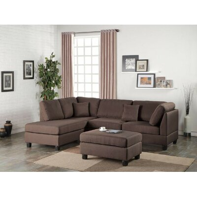 Bibler Reversible Sectional with Ottoman Upholstery: Chocolate Brown