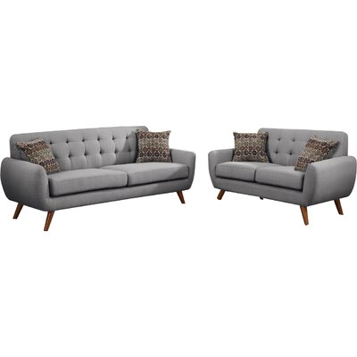 Bice Modern Retro Sofa and Loveseat Set Upholstery: Light Grey
