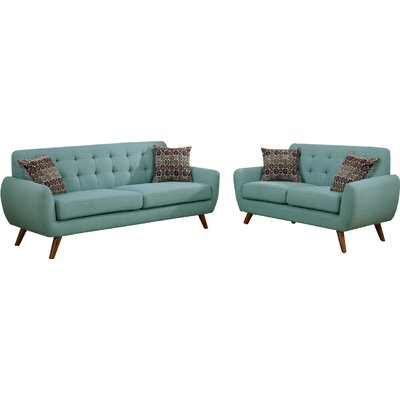 Bice Modern Retro Sofa and Loveseat Set Upholstery: Baby Laguna Blue