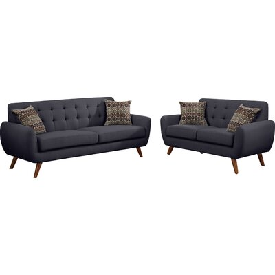 Bice 2 Piece Living Room Set Upholstery: Charcoal Grey