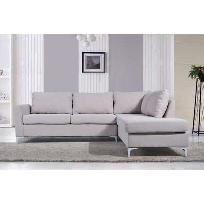 Bickel Reversible Chaise Sectional Upholstery: Beige