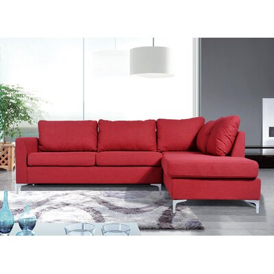 Bickel Reversible Sectional Upholstery: Red