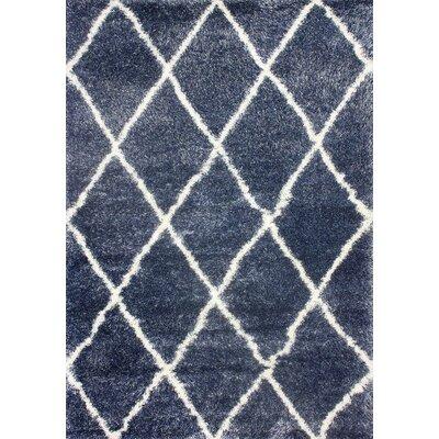 Bronson Trellis Blue Area Rug Rug Size: 53 x 76