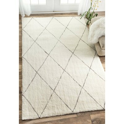 Glade Hand-Tufted Ivory Area Rug Rug Size: Rectangle 5 x 8