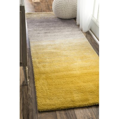 Bier Hand-Tufted Yellow Area Rug Rug Size: Runner 26 x 10