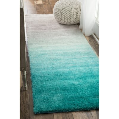 Bierman Hand-Tufted Turquoise/Gray Area Rug Rug Size: Runner 26 x 8