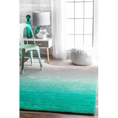 Bierman Hand-Tufted Turquoise/Gray Area Rug Rug Size: Rectangle 7 x 9