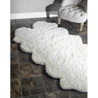 Bigby Hand-Tufted Faux Sheepskin White Area Rug