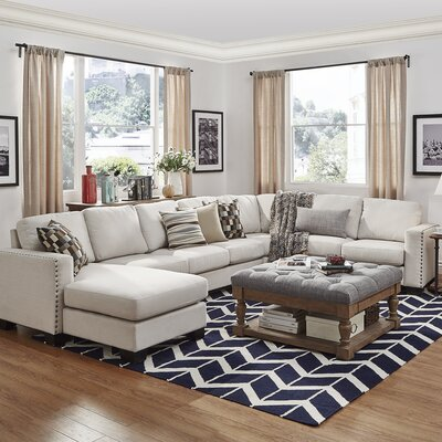 Blackston 7-Seat Nailhead Trimmed Linen Chaise U-Shaped Reversible Chaise Sectional Orientation: Left-Arm Facing