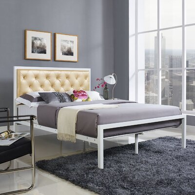 Biondi Upholstered Platform Bed Size: Full, Color: Champagne