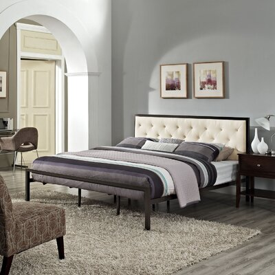 Biondi Upholstered Platform Bed Size: Queen, Color: Beige