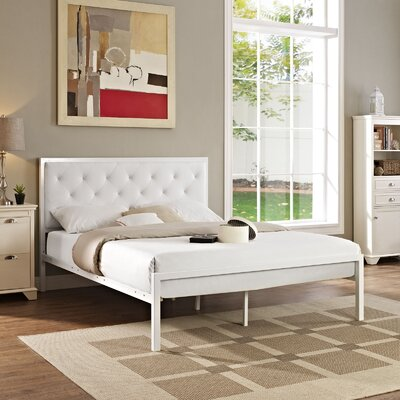 Kettner Queen Upholstered Platform Bed Color: White White
