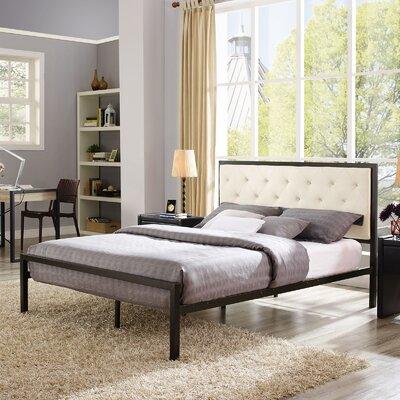 Kettner Queen Upholstered Platform Bed with Mattress Color: Beige
