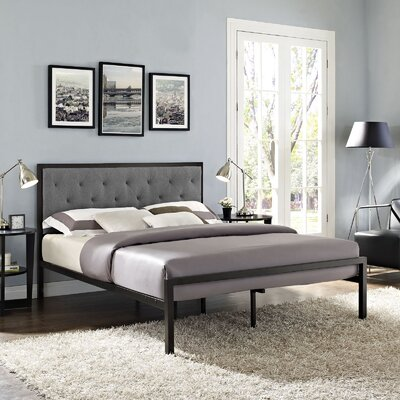 Kettner Queen Upholstered Platform Bed with Mattress Color: Grey