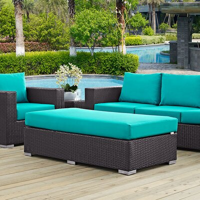 Ryele Rectangle Ottoman with Cushion Fabric: Turquoise