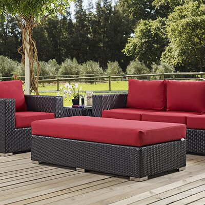 Ryele Rectangle Ottoman with Cushion Fabric: Red