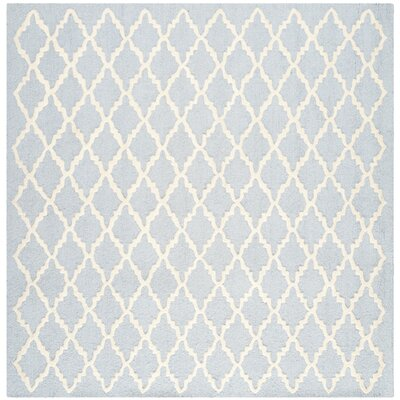Darla Hand-Tufted Wool Light Blue/Ivory Area Rug Rug Size: Square 4