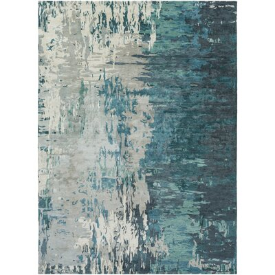 Demosthenes Teal & Beige Area Rug Rug Size: Rectangle 8 x 11