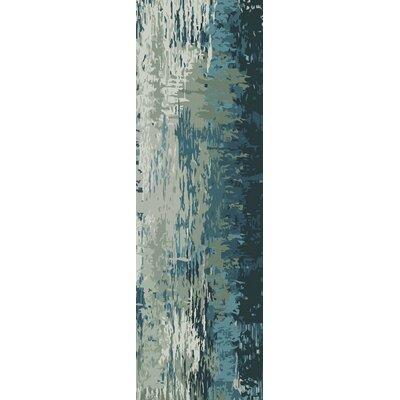 Demosthenes Teal & Beige Area Rug Rug Size: Runner 26 x 8
